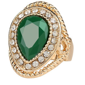 Fashion Rings For Women Gold Color Green Stone